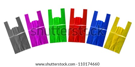 Colorful plastic bag isolated on white background. - stock photo