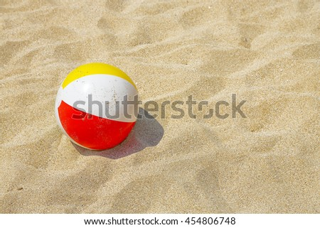 colorful plastic ball on the beach