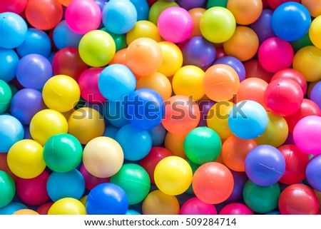 Colorful plastic balls in children park