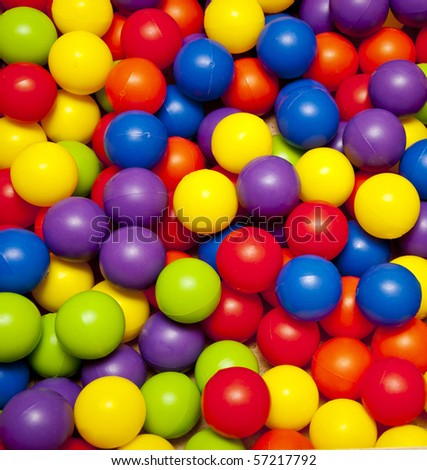 colorful plastic balls on children's playground - stock photo