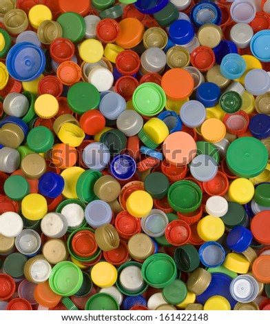 Colorful Plastic Bottle Caps Background