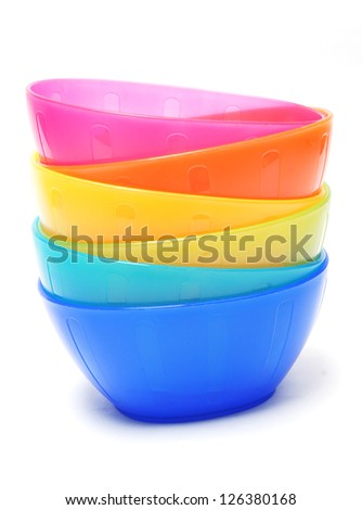 colorful plastic bowl - dish wear - stock photo