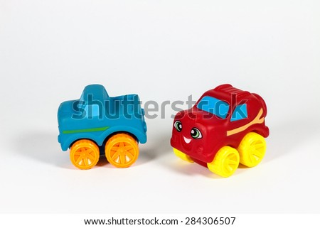 Colorful Plastic Cars Isolated.