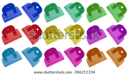 Colorful plastic clamps isolated on white background.