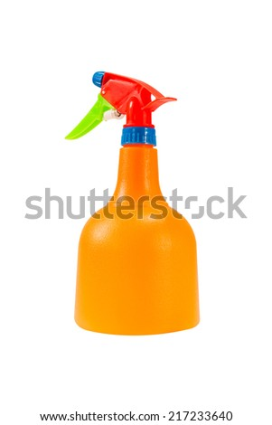 colorful plastic foggy spray bottle isolated on white background with clipping path