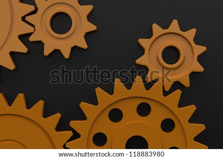 Colorful plastic gears - Isolated on dark background