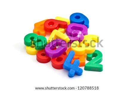 Colorful plastic  numbers isolated on white background
