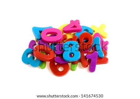 Colorful plastic numbers isolated on white background - stock photo