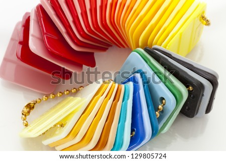 Colorful plastic plate samplers - stock photo