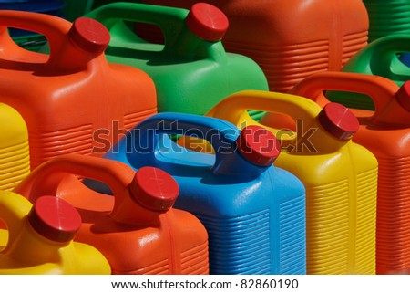 Colorful, plastic, water storage containers - stock photo