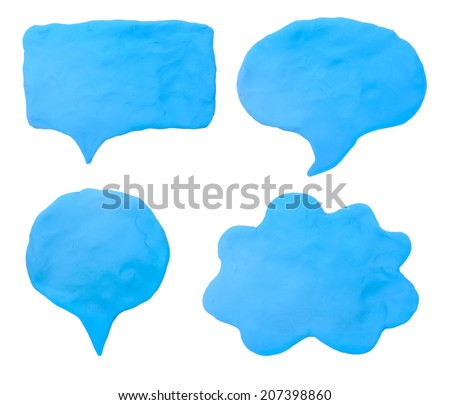 Colorful plasticine clay chat icon on white background - stock photo