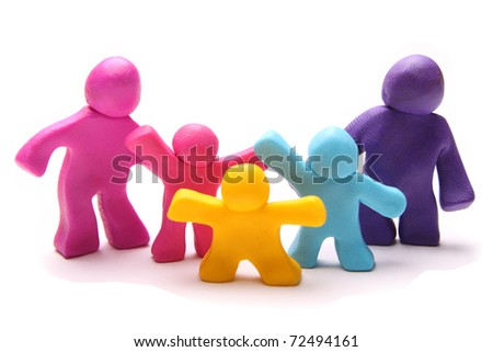 colorful plasticine family - stock photo