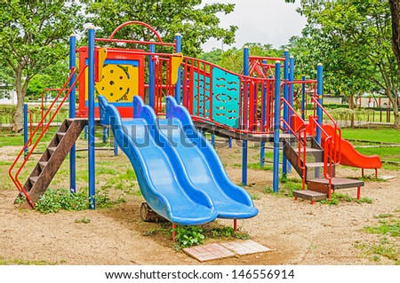 Colorful playground equipment in the public park