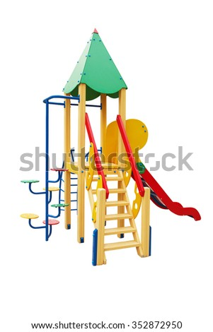 Colorful playground for children isolated on white background - stock photo