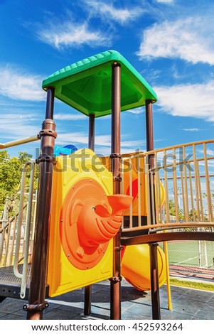 Colorful playground on yard in the park, Playground for children in the yard. - stock photo