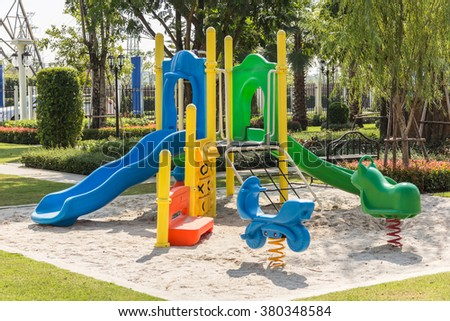 Colorful playgrounds in park - stock photo