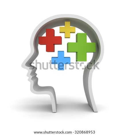 Colorful plus signs in human head shape isolated over white background the positive thinking concept