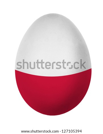 Colorful Poland flag Easter egg isolated on white background - stock photo