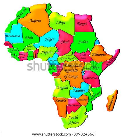 Colorful Political Map Africa Stock Illustration - Political map of africa