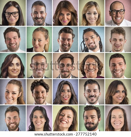 Colorful portrait collage of many smiling faces - stock photo