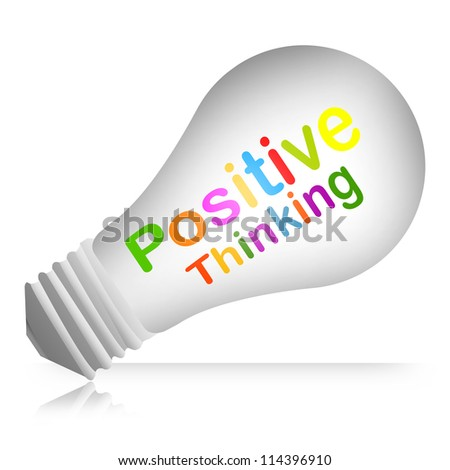 Colorful Positive Thinking Text Inside The Light Bulb For Business Concept Isolated on White Background - stock photo