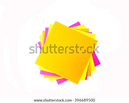 Colorful post it note on white background - stock photo