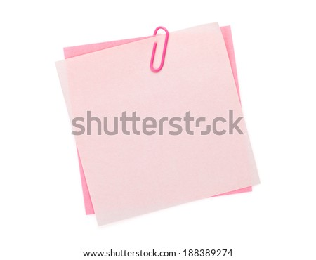 Colorful post-it notes with clip. Isolated on white background - stock photo