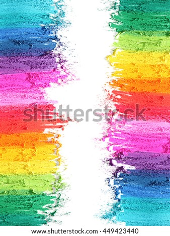 Colorful powder paint a on gradient background. Natural soil paint. Rainbow paint.