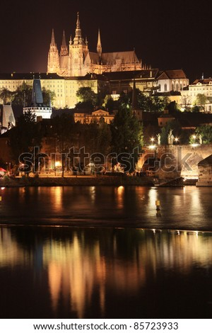 Colorful Prague gothic Castle above the River Vltava with Charles Bridge in the Night