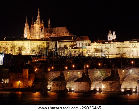 Colorful Prague gothic Castle in the Night