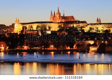 Colorful Prague gothic Castle with St. Nicholas' Cathedral and Charles Bridge above the River Vltava after Sunset, Czech Republic