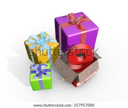 Colorful presents and in the unpacked box a three dimensional number 9 - stock photo