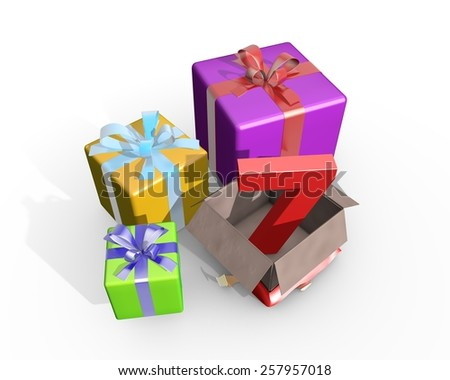 Colorful presents and in the unpacked box a three dimensional number 7 - stock photo