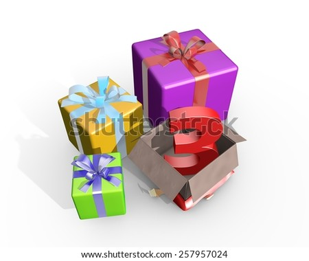 Colorful presents and in the unpacked box a three dimensional number 3 - stock photo