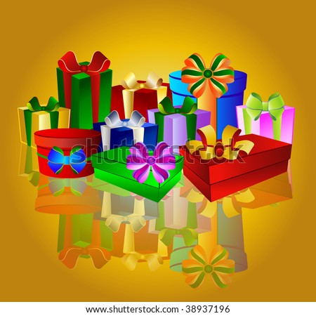 Colorful presents on golden background