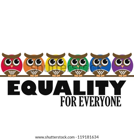 Colorful Pride Owls. Equality is for Everyone - stock photo