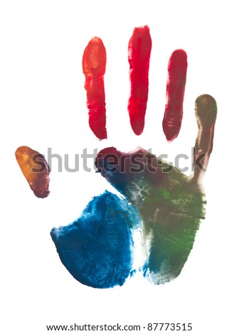 colorful print of a hand and fingers - stock photo