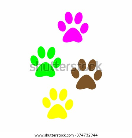 Colorful Prints paw prints animal. Web icon, color paw dog. The imprint of paws of a pet. Imprint on white background.  - stock photo