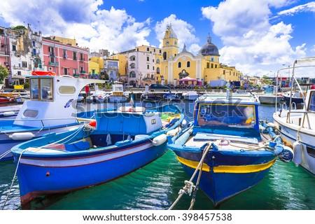 colorful Procida island in Campania, Italy - stock photo