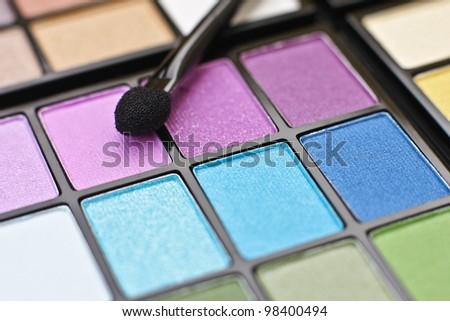 Colorful professional make-up palette - stock photo