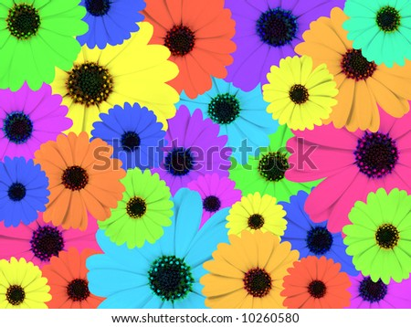 Colorful psychedelic illustration made of marigold flowers