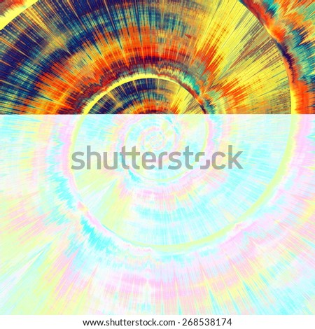 Colorful Psychedelic Spiral. Abstract Bright Vortex. Fractal Background Design. Blue Gold Orange Colors. Digital Art Illustration. Fantasy Pattern Concept. Beautiful Modern Image. Decorative Texture. - stock photo