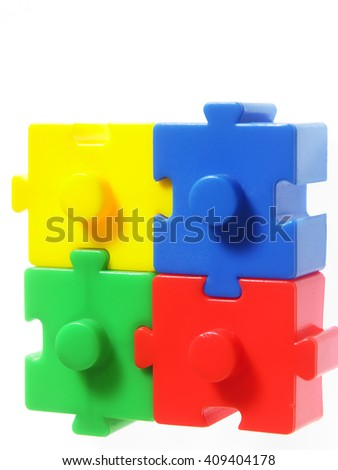 colorful puzzle block on the white background