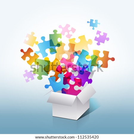 colorful puzzle box - stock photo
