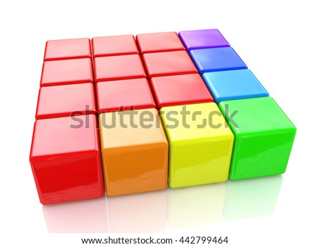 colorful puzzle cubes on an isolated white background in the design of information associated with abstraction. 3d illustration - stock photo