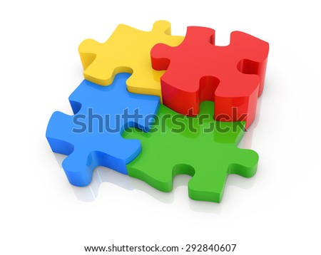 Colorful puzzle , 3d rendered image.