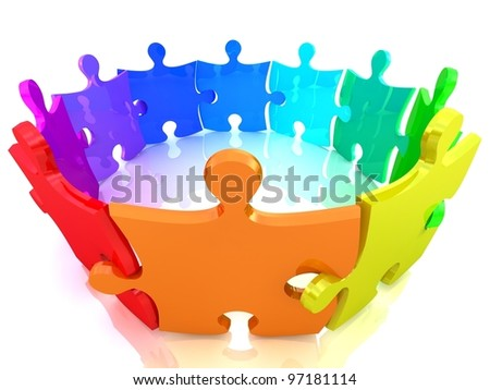 Colorful Puzzle on white background. Isolated 3D image - stock photo