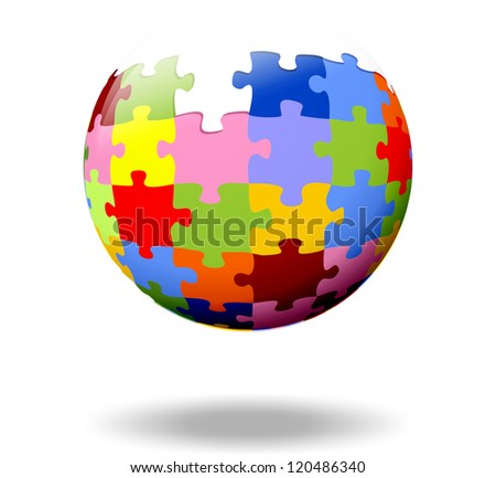 colorful puzzle pieces as a ball