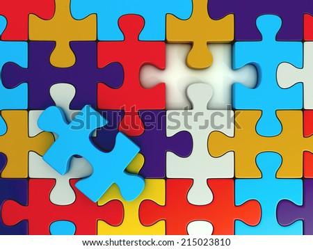 colorful puzzle pieces. close up. 3d illustration - stock photo