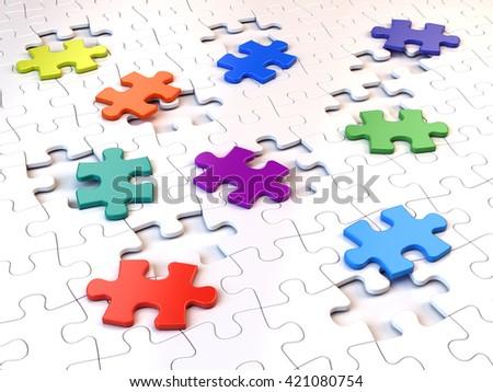 Colorful puzzle pieces. 3d render - stock photo